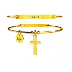 KIDULT LIFE Collection Bracciale in acciaio pvd gold CROCE FEDE 231672 FAITH